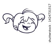 cartoon cute girl face outlined ... | Shutterstock . vector #1424731517