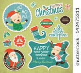 set of christmas stickers | Shutterstock .eps vector #142475311