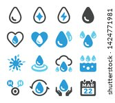 water and water drop icon set... | Shutterstock .eps vector #1424771981
