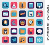 set of flat education icons for ... | Shutterstock .eps vector #142480261