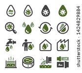 waste water and sewage icon set ... | Shutterstock .eps vector #1424829884