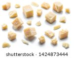 parmesan cheese cubes and...   Shutterstock . vector #1424873444