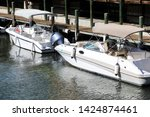 close up docked beautiful boats ... | Shutterstock . vector #1424874461