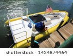 close up docked beautiful boat... | Shutterstock . vector #1424874464