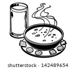 soup and crackers   retro clip... | Shutterstock .eps vector #142489654