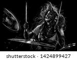 Girl Drummer. Musician With...