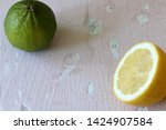 green juicy lime and half an...   Shutterstock . vector #1424907584