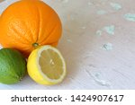 green juicy lime  orange and...   Shutterstock . vector #1424907617