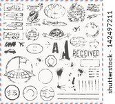 vector set   vintage hand drawn ... | Shutterstock .eps vector #142497211