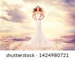 fashion model in sea waves ... | Shutterstock . vector #1424980721