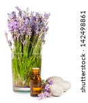 lavender flowers and essential...   Shutterstock . vector #142498861