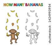 cartoon monkey counting bananas.... | Shutterstock . vector #1424993954