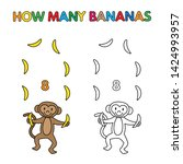 cartoon monkey counting bananas.... | Shutterstock . vector #1424993957