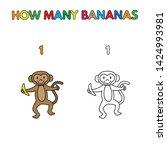 cartoon monkey counting bananas.... | Shutterstock . vector #1424993981