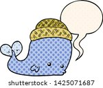 cartoon whale wearing hat with... | Shutterstock .eps vector #1425071687