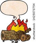 cartoon camp fire with speech... | Shutterstock .eps vector #1425073754