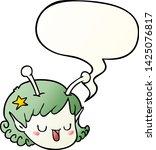 cartoon alien space girl face... | Shutterstock .eps vector #1425076817