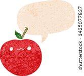 cartoon cute apple with speech... | Shutterstock .eps vector #1425077837
