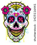sugar skull with flowers with a ... | Shutterstock .eps vector #1425116441