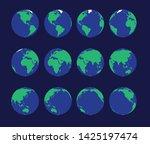 earth globe animate spinning... | Shutterstock .eps vector #1425197474