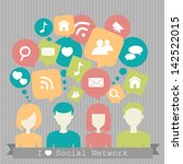 people with network dialog... | Shutterstock .eps vector #142522015