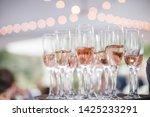 Rose Wine Glasses Toast Wedding