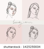 set of beauty woman portraits.  ... | Shutterstock .eps vector #1425250034