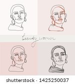 set of beauty woman portraits.  ... | Shutterstock .eps vector #1425250037