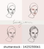 set of beauty woman portraits.  ... | Shutterstock .eps vector #1425250061