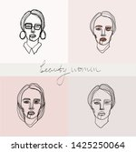 set of beauty woman portraits.  ... | Shutterstock .eps vector #1425250064