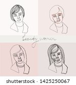set of beauty woman portraits.  ... | Shutterstock .eps vector #1425250067