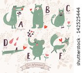 cute zoo alphabet in vector. a  ... | Shutterstock .eps vector #142525444