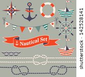 collection of nautical symbols. ... | Shutterstock .eps vector #142528141