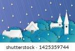landscape of village in the... | Shutterstock .eps vector #1425359744