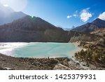 gangapurna lake with turquoise...   Shutterstock . vector #1425379931