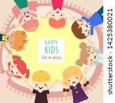 happy kids boy and girls meet... | Shutterstock .eps vector #1425380021