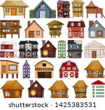 set of different house style... | Shutterstock .eps vector #1425383531