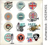music stamps and labels | Shutterstock .eps vector #142539331