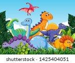 many dinosaur in nature...   Shutterstock .eps vector #1425404051