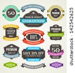 vector vintage sale labels and... | Shutterstock .eps vector #142542625