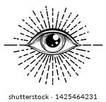blackwork tattoo flash. eye of... | Shutterstock .eps vector #1425464231
