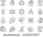 charity line icon set. included ... | Shutterstock .eps vector #1425473957