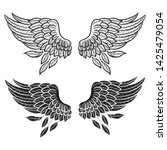 set of illustrations with angel ... | Shutterstock .eps vector #1425479054