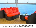empty sunbed lounge chairs for... | Shutterstock . vector #1425496397