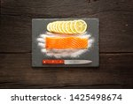 piece of salted salmon on a... | Shutterstock . vector #1425498674
