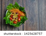 salad bowl with green romaine ... | Shutterstock . vector #1425628757