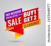 buy 1 get 2 sale banner red...   Shutterstock .eps vector #1425648977