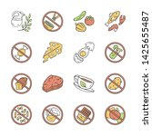 keto diet color icons set. low... | Shutterstock .eps vector #1425655487