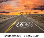 Route 66 Pavement Sign Sunrise...