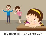 sad child girl crying with... | Shutterstock .eps vector #1425758207